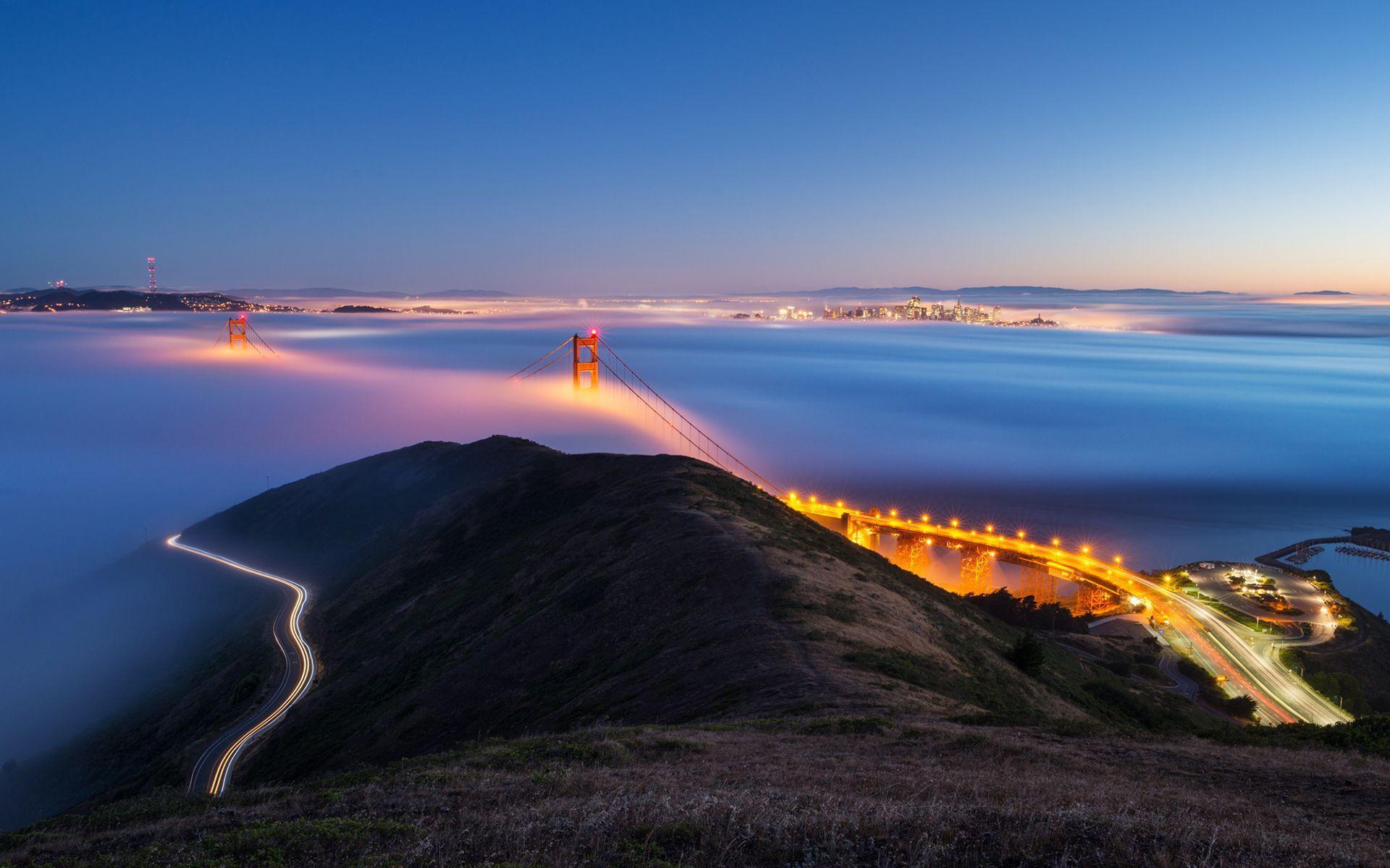 Bridges Golden Gate Bridge Sky Scenery Fog San Francisco Sea Mist