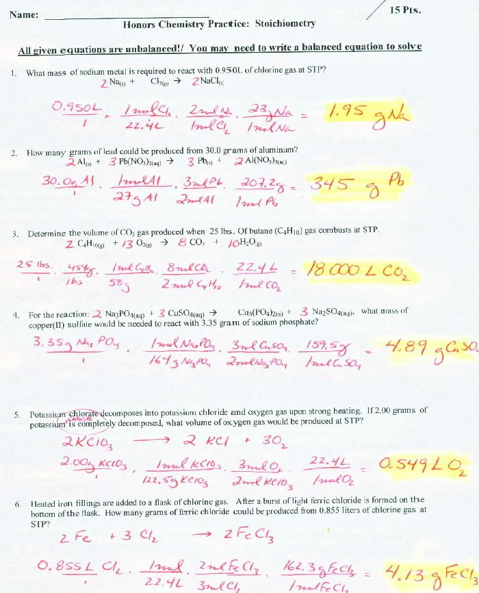Chemistry Chapter 12 1 Stoichiometry Worksheet Answers - Worksheets