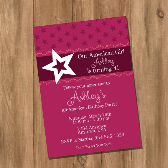American Girl Inspired Birthday Party Invitation by DigiPrintz – Diy Girl Birthday Party Invitations