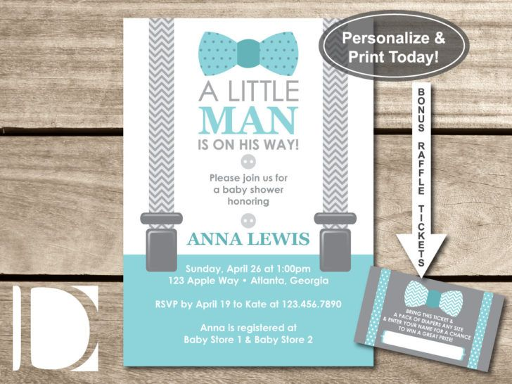 Blue Teal and Gray Little Man Baby Shower Invite Bow Tie Suspenders ...