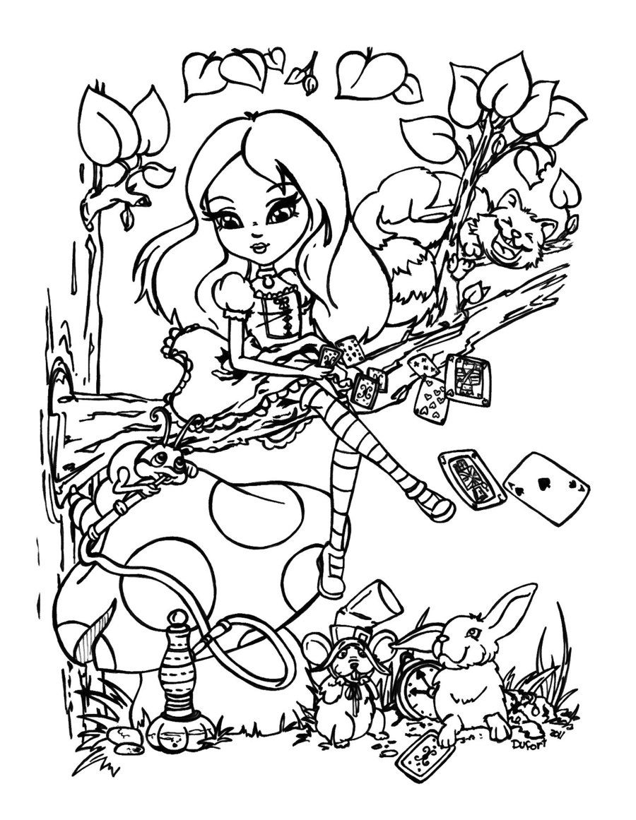 Alice in wonderland by on - Coloriage alice ...
