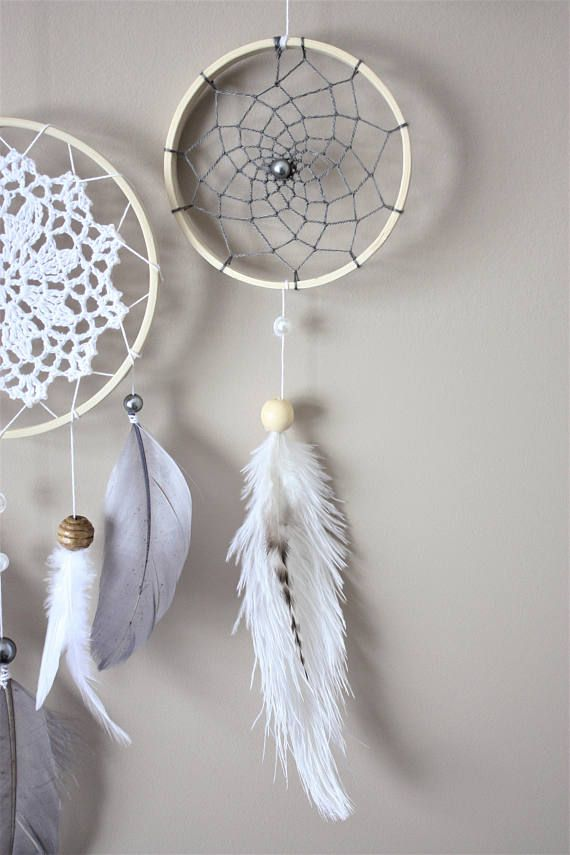 Feather dream catcher wall hanging grey white dream Tenture chambre bebe