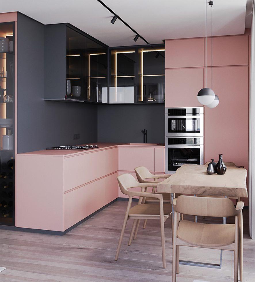 Pink Kitchen Cabinets • Minimal Furniture • Home Decor