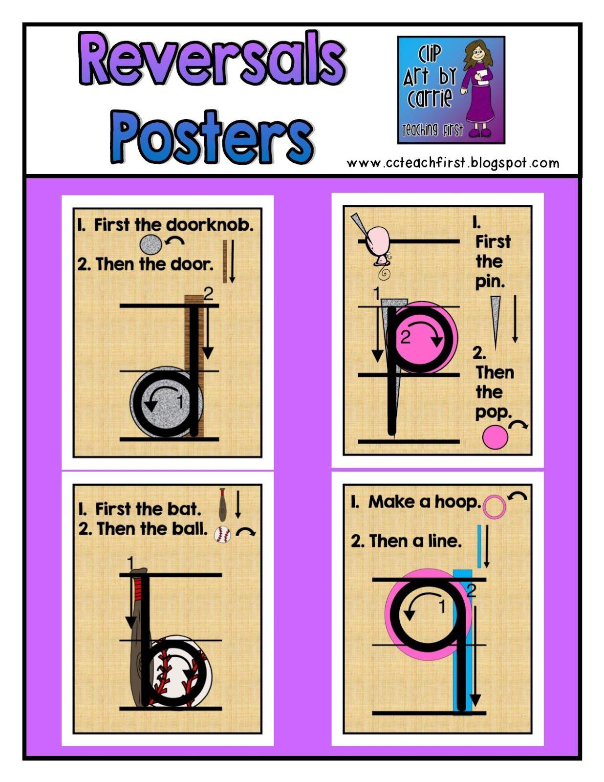 Clip Art By Carrie Teaching First B D P 9 Reversal Posters Freebie Letter Reversals Teaching Posters Alphabet Activities Preschool [ 1600 x 1236 Pixel ]