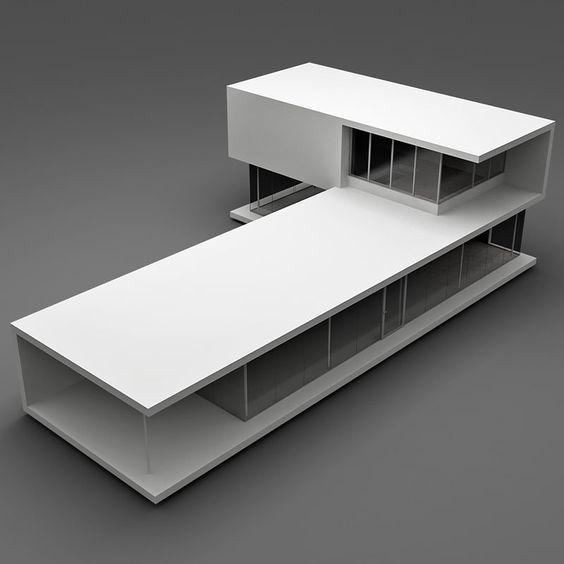 Realistic modern house 1 3d model architettura for Modelli case 3d