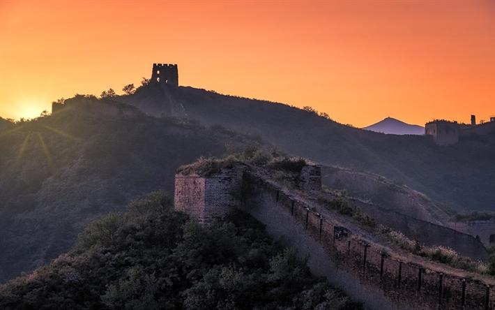 Scarica Sfondi Tramonto La Grande Muraglia Della Cina Montagne Torre Hebei