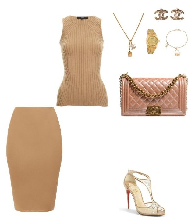 """Untitled #66"" by michelleeli ❤ liked on Polyvore featuring Christian Louboutin, Chanel and Rolex"