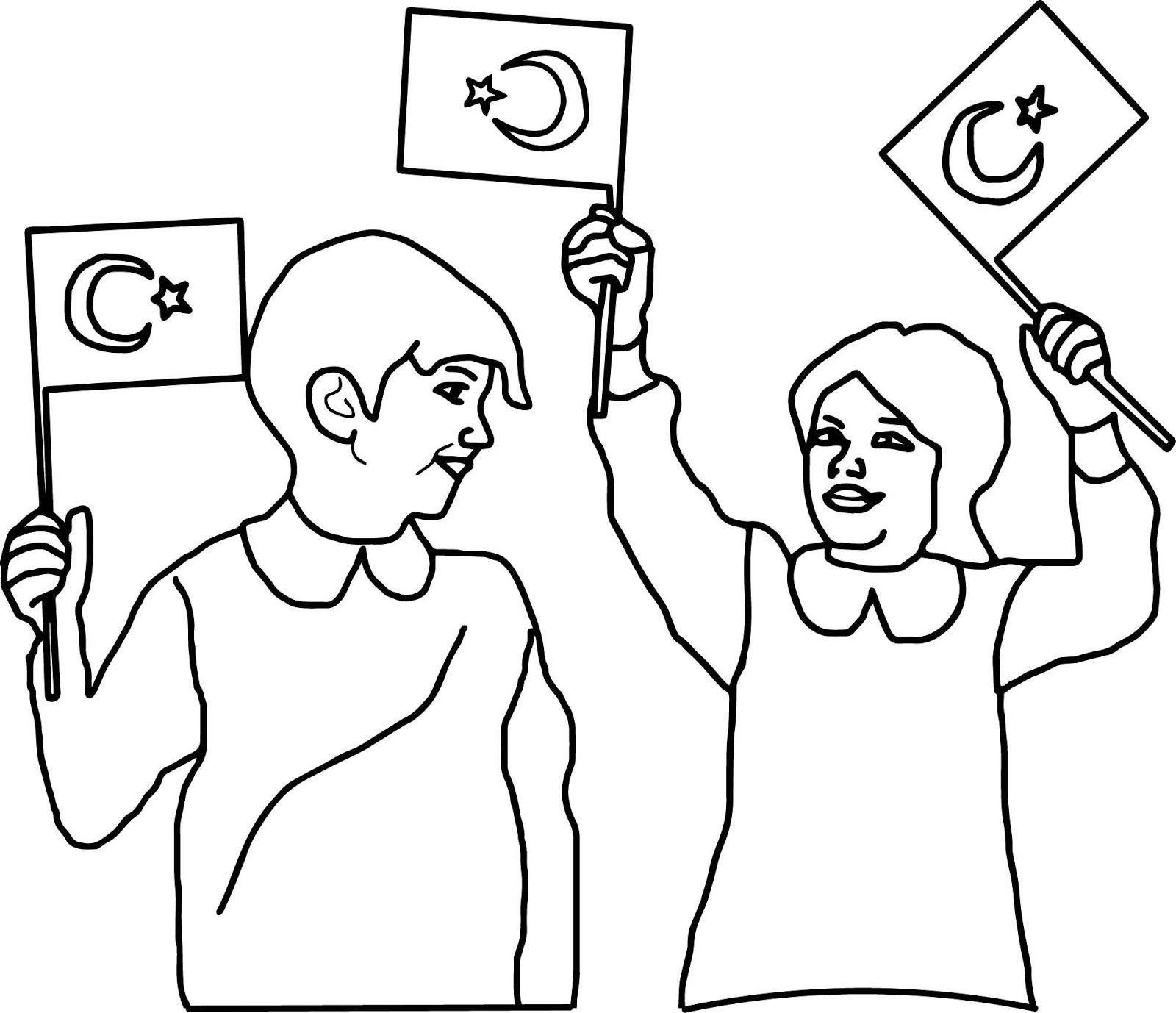 Türk Bayrağı Boyama Kağıdı çalışması Türk Bayrağı Resimleri Guns