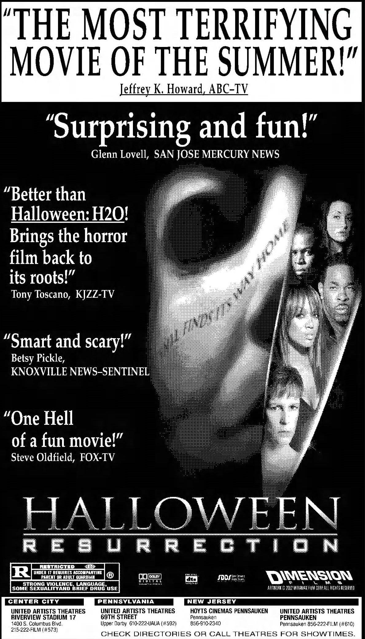 Halloween Resurrection 2002 Terrifying Movies Halloween Movies Halloween Resurrection