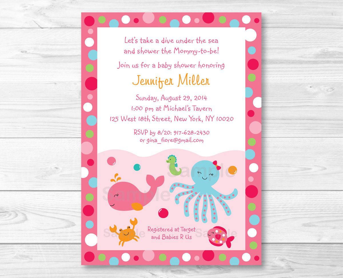 Pink Under the Sea Baby Shower Invitation / Under The Sea Baby ...
