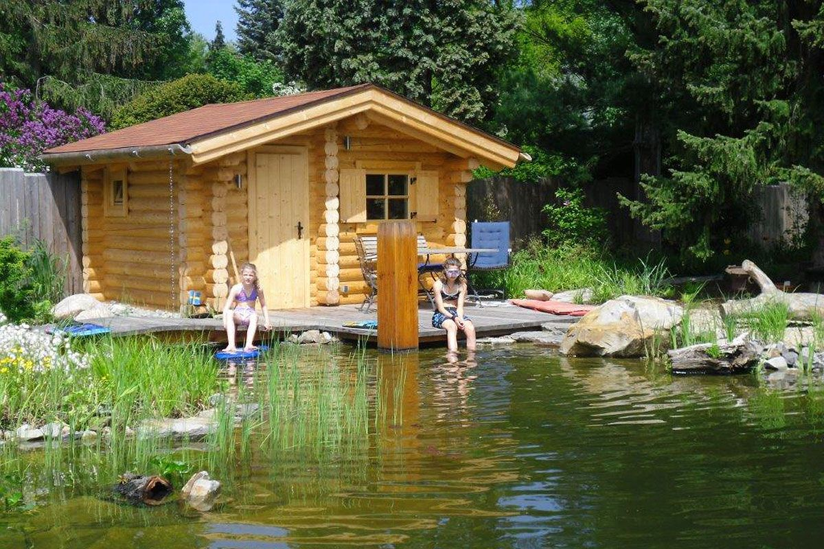Cool Gartenteich Bildergalerie Ideen Von Sauna Am Rundstamm-blockbauweise, 21 Cm Stammstärke