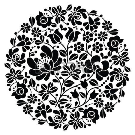bordados  Kalocsai arte popular del bordado - negro patrón floral redondo  popular de Hungría 9c6a569e92ced