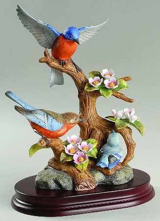 Sadek Sadek Bird Figurines Eastern Bluebird Family Boxed Bird Sculpture Clay Art Projects Bird Art