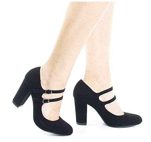 cdfc627e3fdae Amazon.com | City Classified Women's Closed Toe Ankle Strap Block Heel |  Pumps