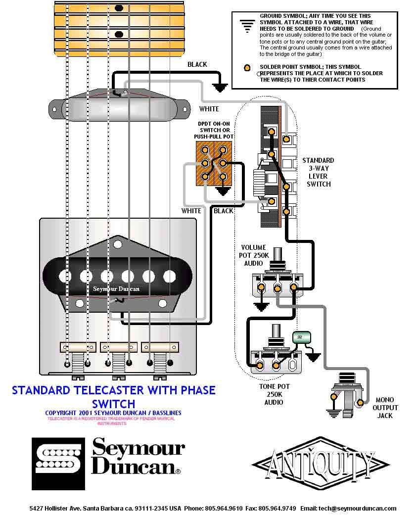 Tele Wiring Diagram with phase switch | Telecaster Build | Pinterest ...