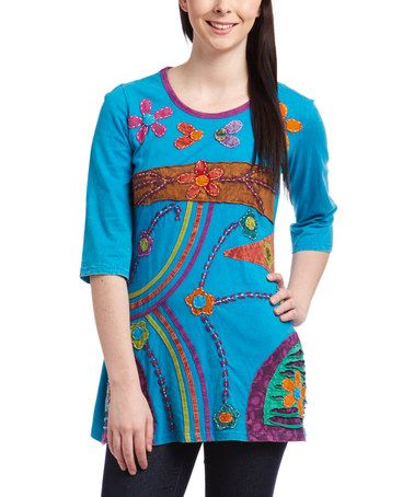 Look what I found on #zulily! Blue & Purple Floral Patchwork Tunic by Rising International #zulilyfinds