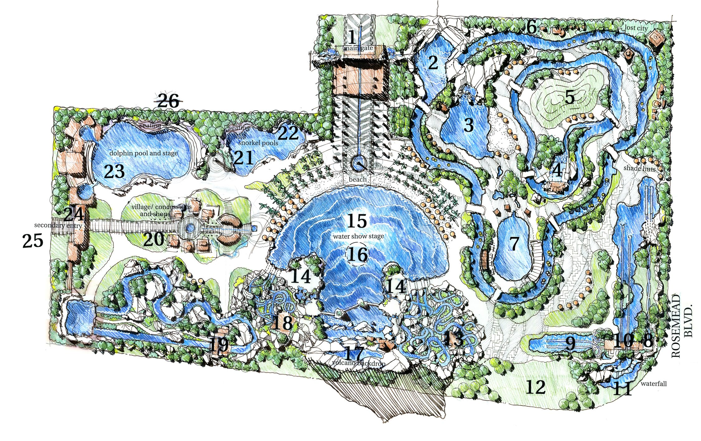 Caribe Jungle Water Park Las Americas Pico Rivera Ca By Nuvis Landscape Design Drawings Water Theme Park Landscape Plans