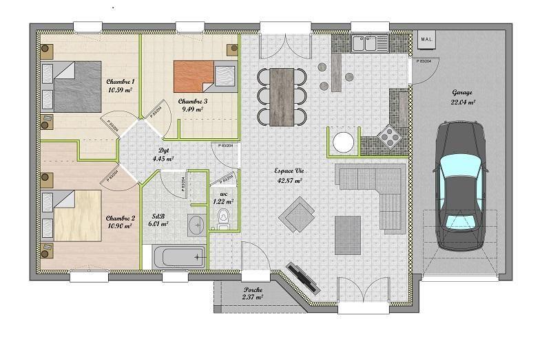 Plan De Maison Plain Pied 3 Chambres Gratuit #5 - LES MAISONS - Plan Gratuit De Maison Plain Pied