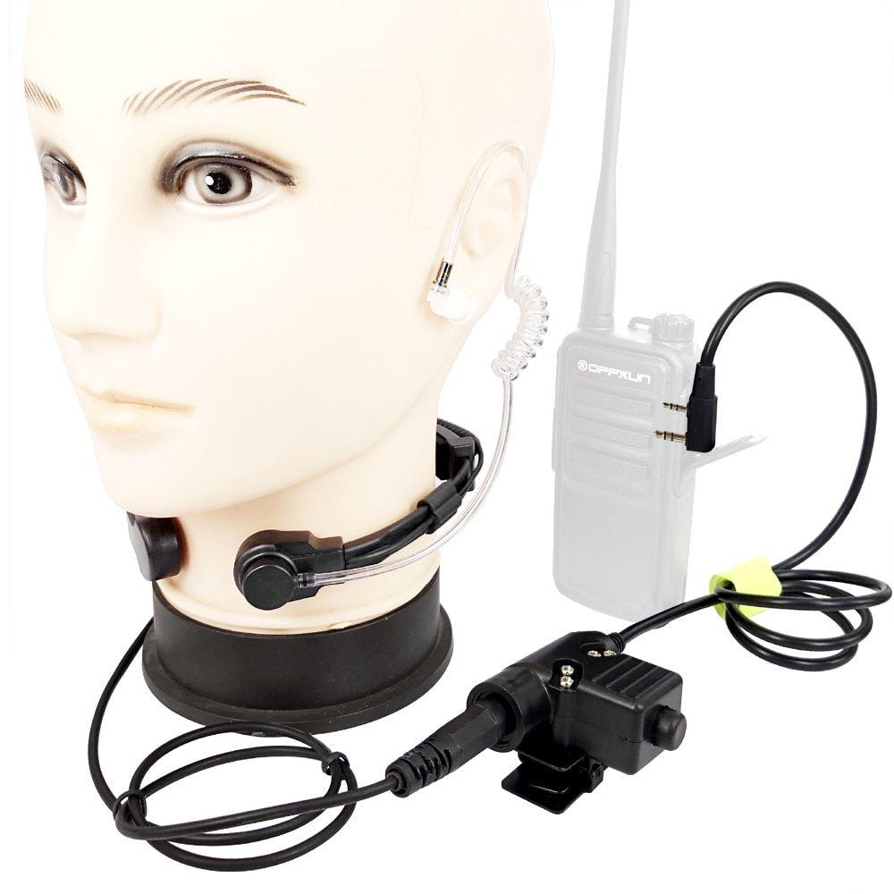 medium resolution of walkie talkie microphone heavy duty u94 ptt neck throat mic earpiece radio nato tactical headset for baofeng kenwood hyt tyt review