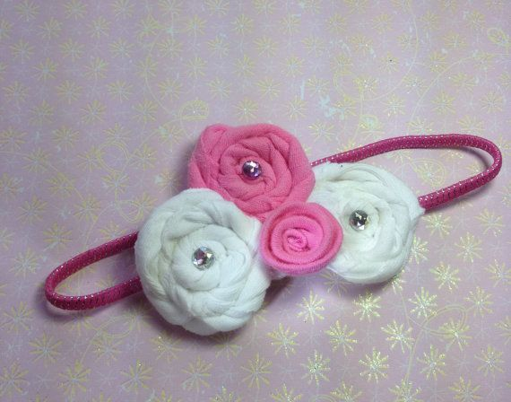 pink and white cotton headband     $5.00