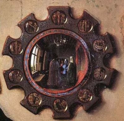 """Jan van Eyck, Detail from """"The Arnolfini Portrait,"""" 1434 Behind the couple and the open window, both distorted by the convex shape of the mirror, very faintly you can see two figures standing in the doorway, right where we, the audience, would be standing. It's hard to tell from a web-quality image, but one of the figures is raising his hand as if to say hello. Art historians conjecture that one of the figures is the artist van Eyck himself"""