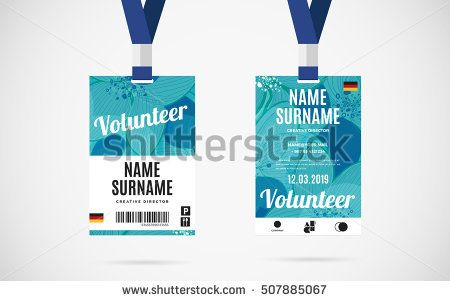 Event volunteer id card set with lanyard vector design and text