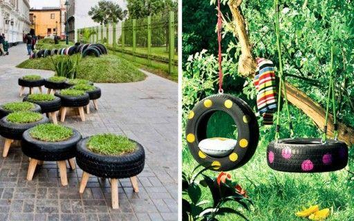 Poniendo lindos los jardines usando neumáticos... # ...