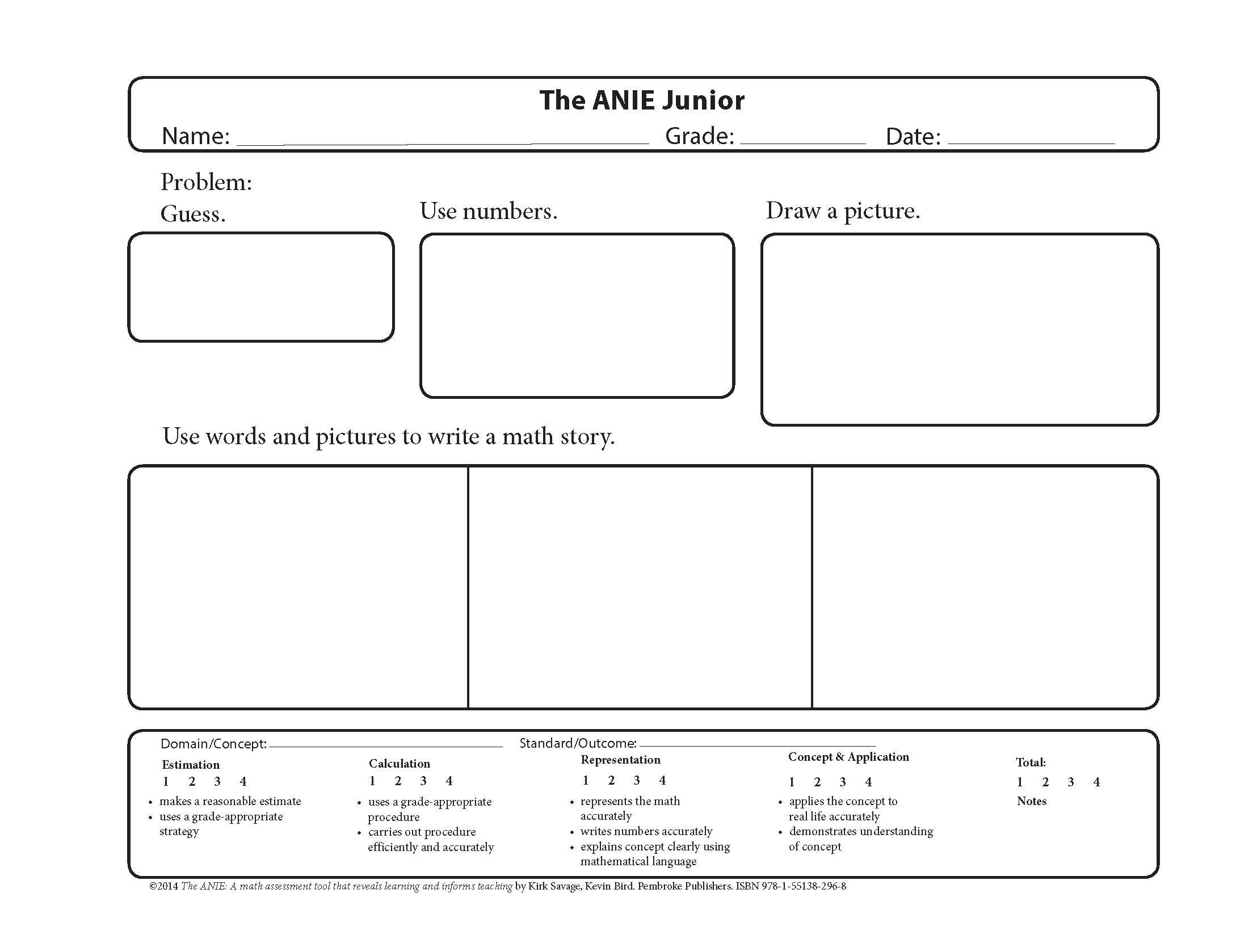 The ANIE Jr. Template. (Adapted from The ANIE: A Math Assessment ...