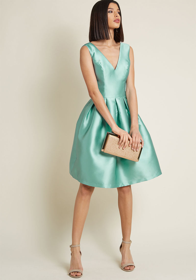d8d69775c69 Chi Chi London Sweetly Celebrated Fit and Flare Dress in Sage in 4 -  Sleeveless Fit   Flare Knee Length by Chi Chi London from ModCloth