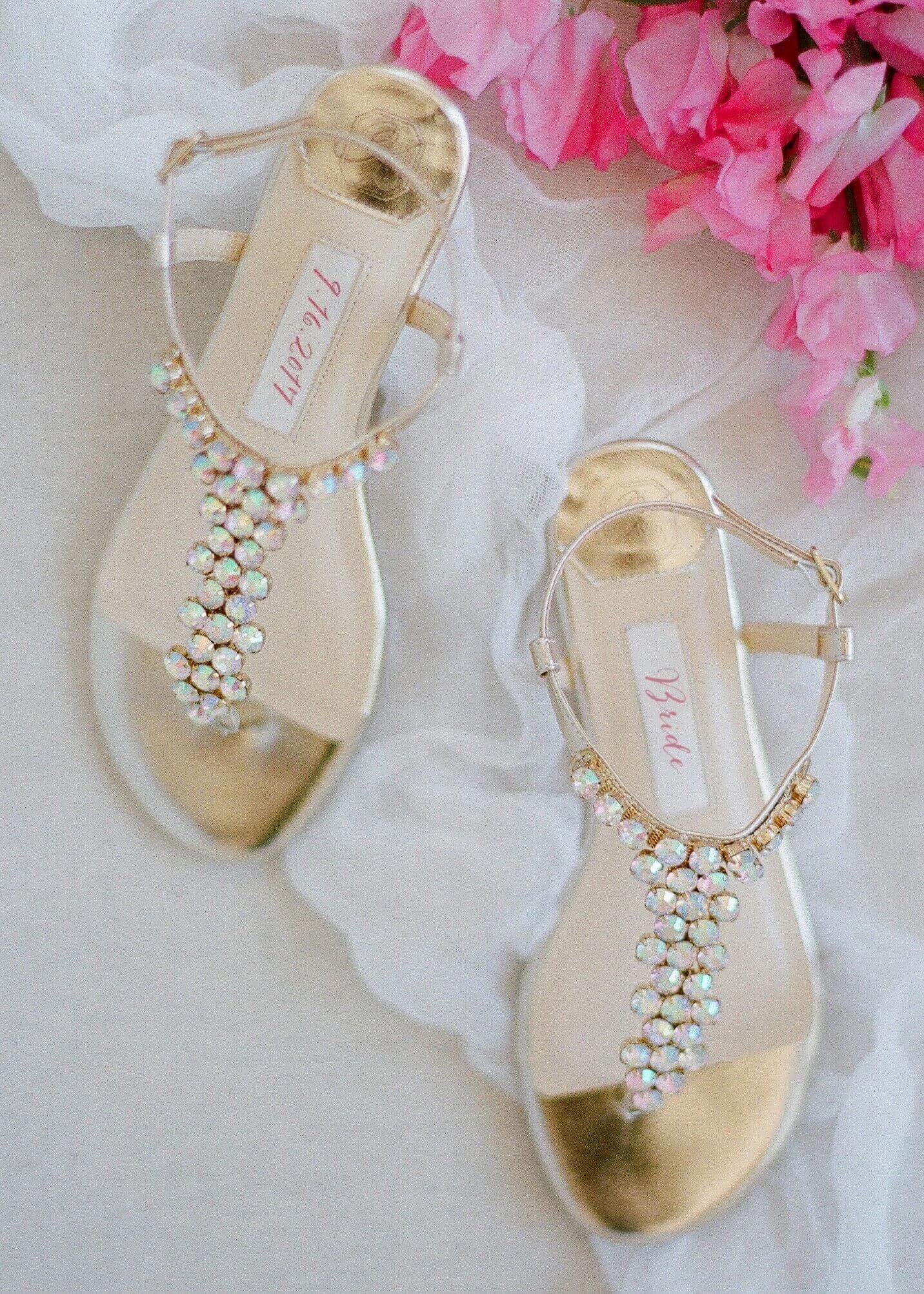 342e94654 wedding shoes flat, wedding flats, gold rhinestone flats, kate whitcomb shoe,  bella
