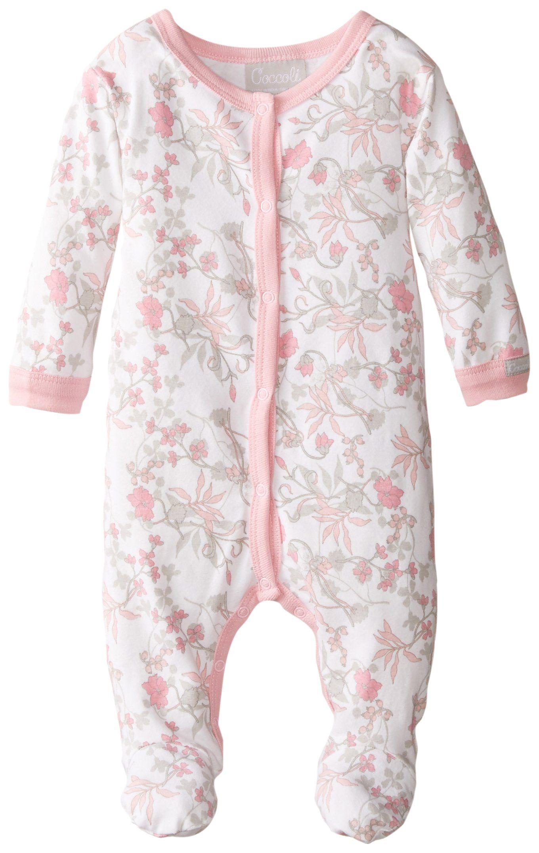 Coccoli Baby-Girls Newborn Flower Print Footie, Pink/Grey, 3 Months