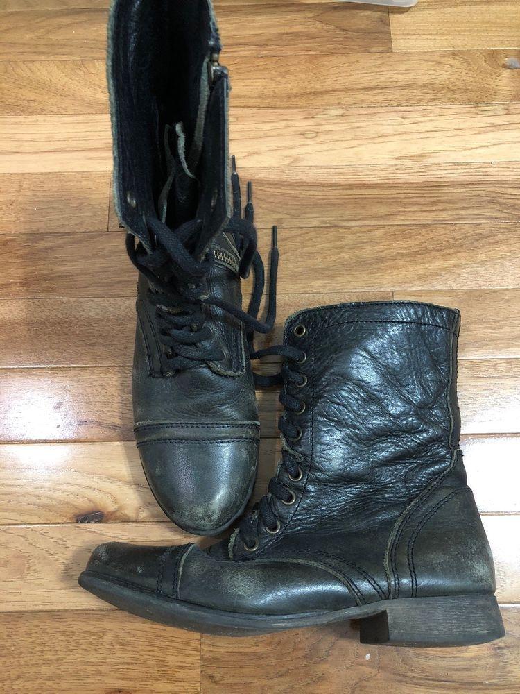 ad1966d9de5 Steve Madden TROOPA Womens Black Leather Combat Boots Size 8 M ...