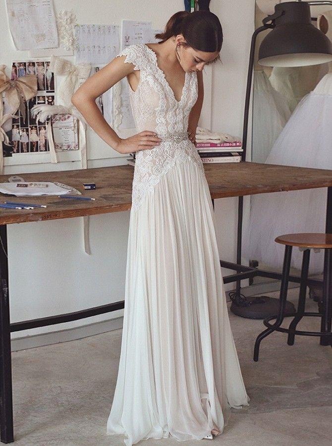Photo of A-Line V-Neck Cap Sleeves Lace Beading Chiffon Wedding Dress