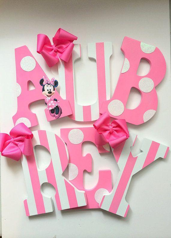 9 pink and white minnie mouse character por miamonroeboutique letras decoraci n dormitorio - Letras bebe decoracion ...