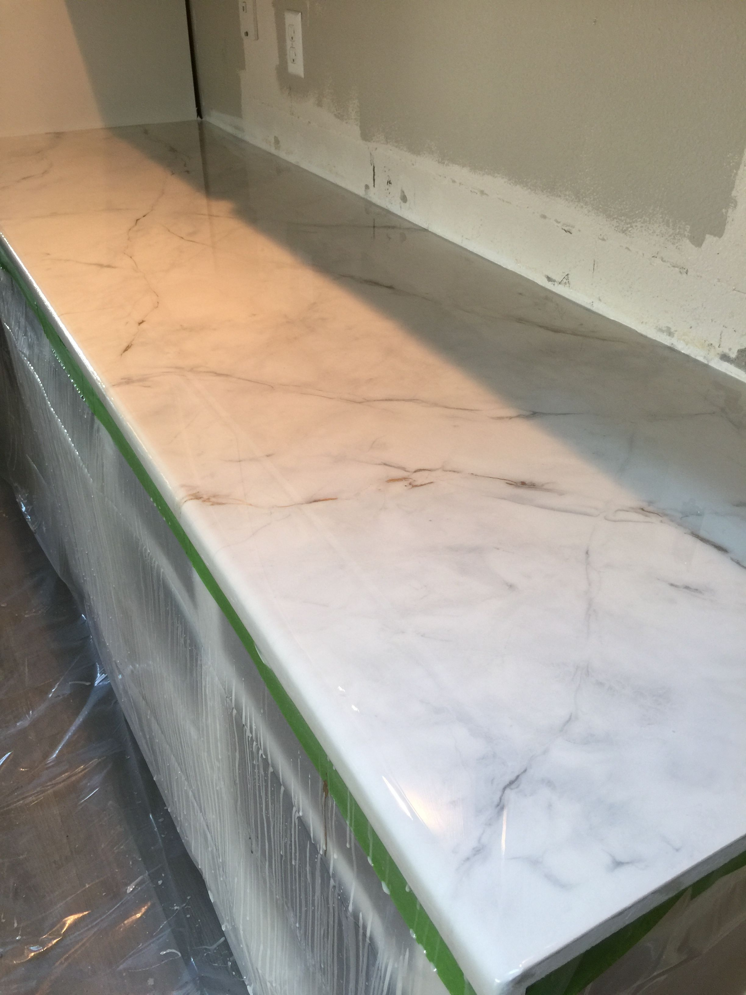 White Marble Epoxy Countertops Easy Affordable Customizable