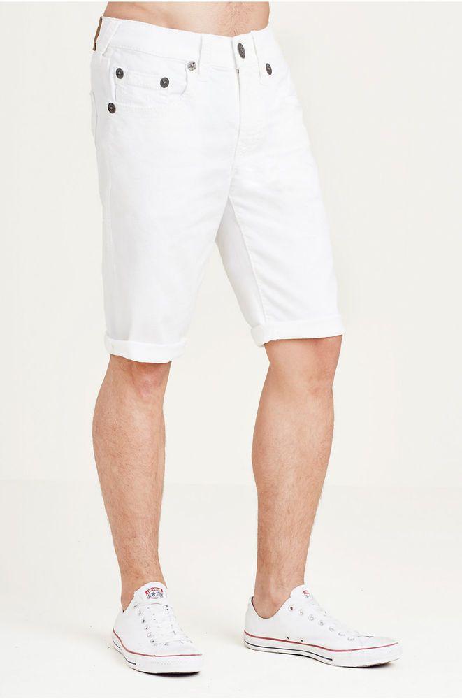 358c25cf1 NWT True Religion GENO Big T Cutoff Straight White Short size 34  159 Shorts   TrueReligion  Denim