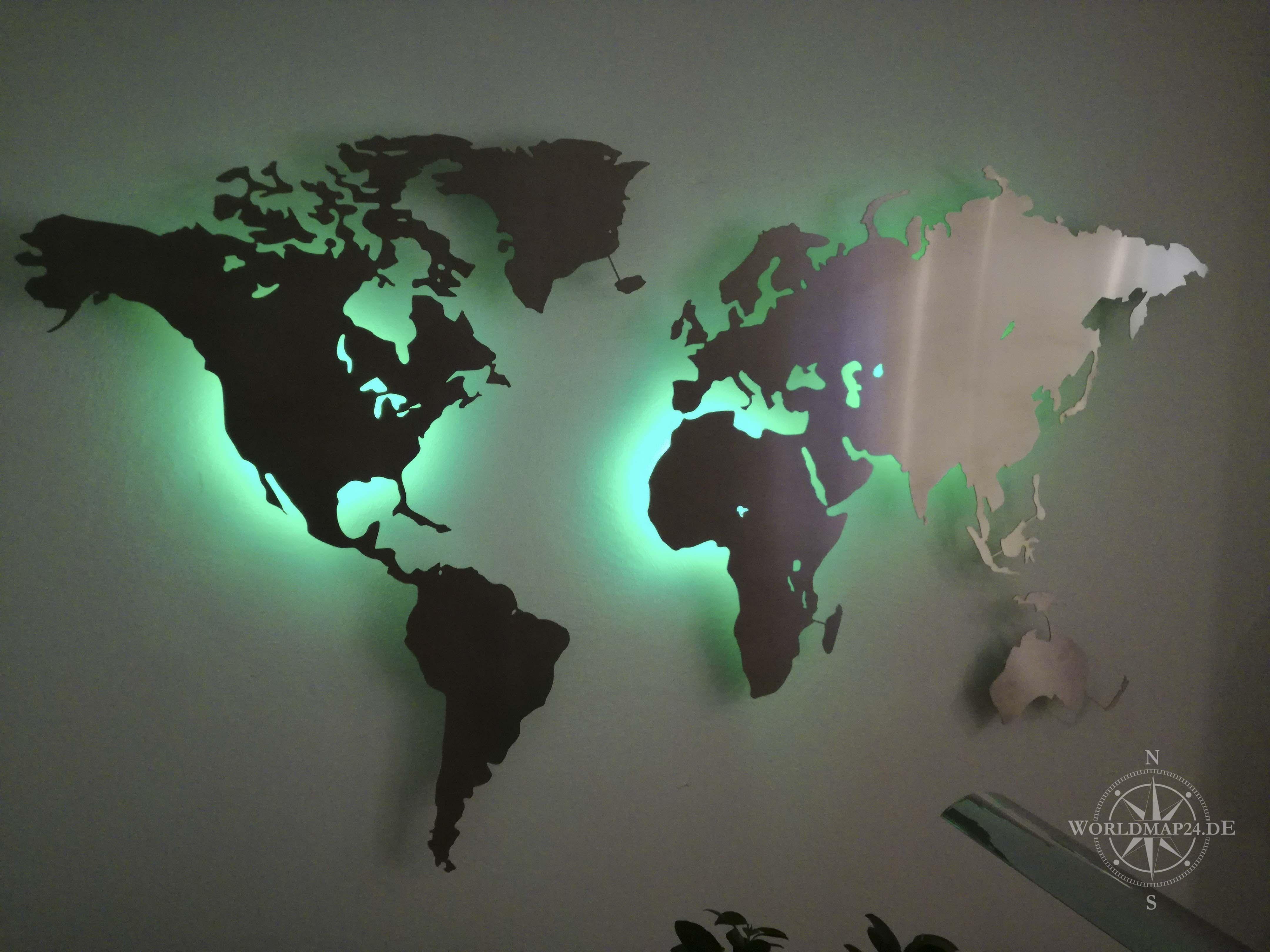 Anspruchsvoll Weltkarte Wand Ideen Von Beleuchtete Dekoration Aus Edelstahl Rbg