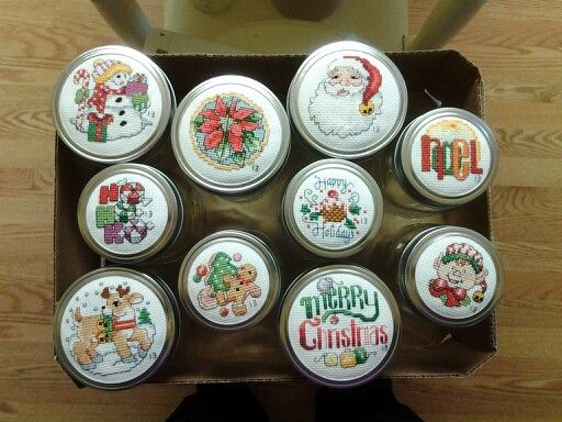 Christmas Cross Stitch Jar Lid Toppers Found In Google Images Christmas Mason Jars Mason Jar Lids Christmas Cross Stitch