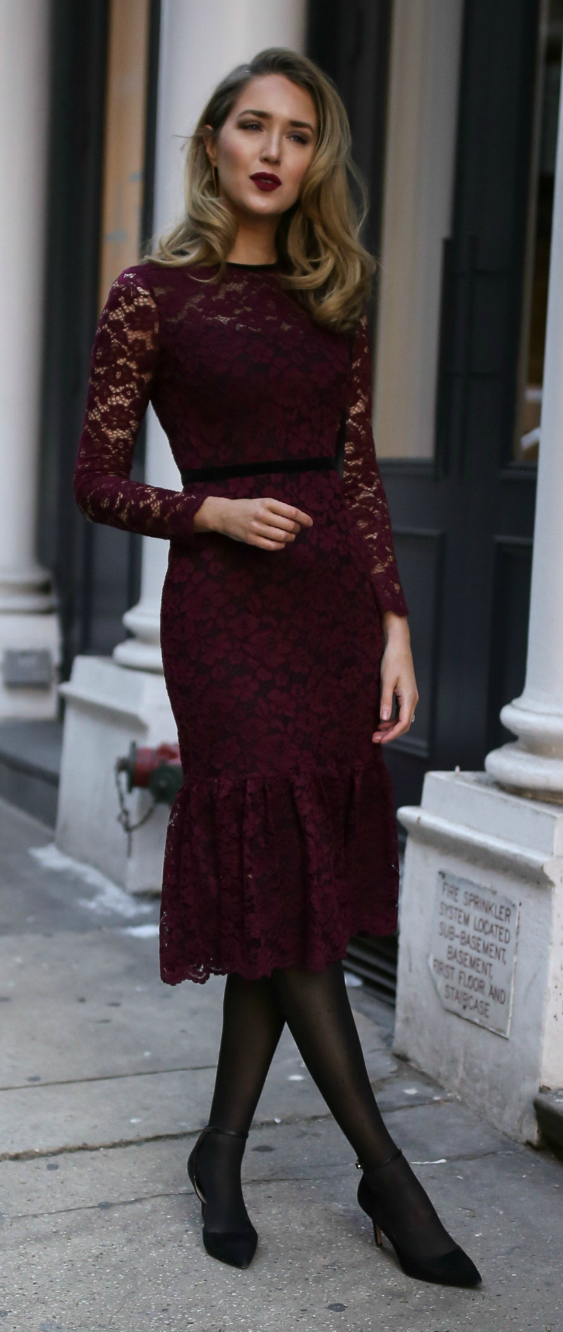5f297cc34f2 10 Perfect Day-to-Night Valentine s Day Dresses    Eggplant purple lace  long sleeve midi dress
