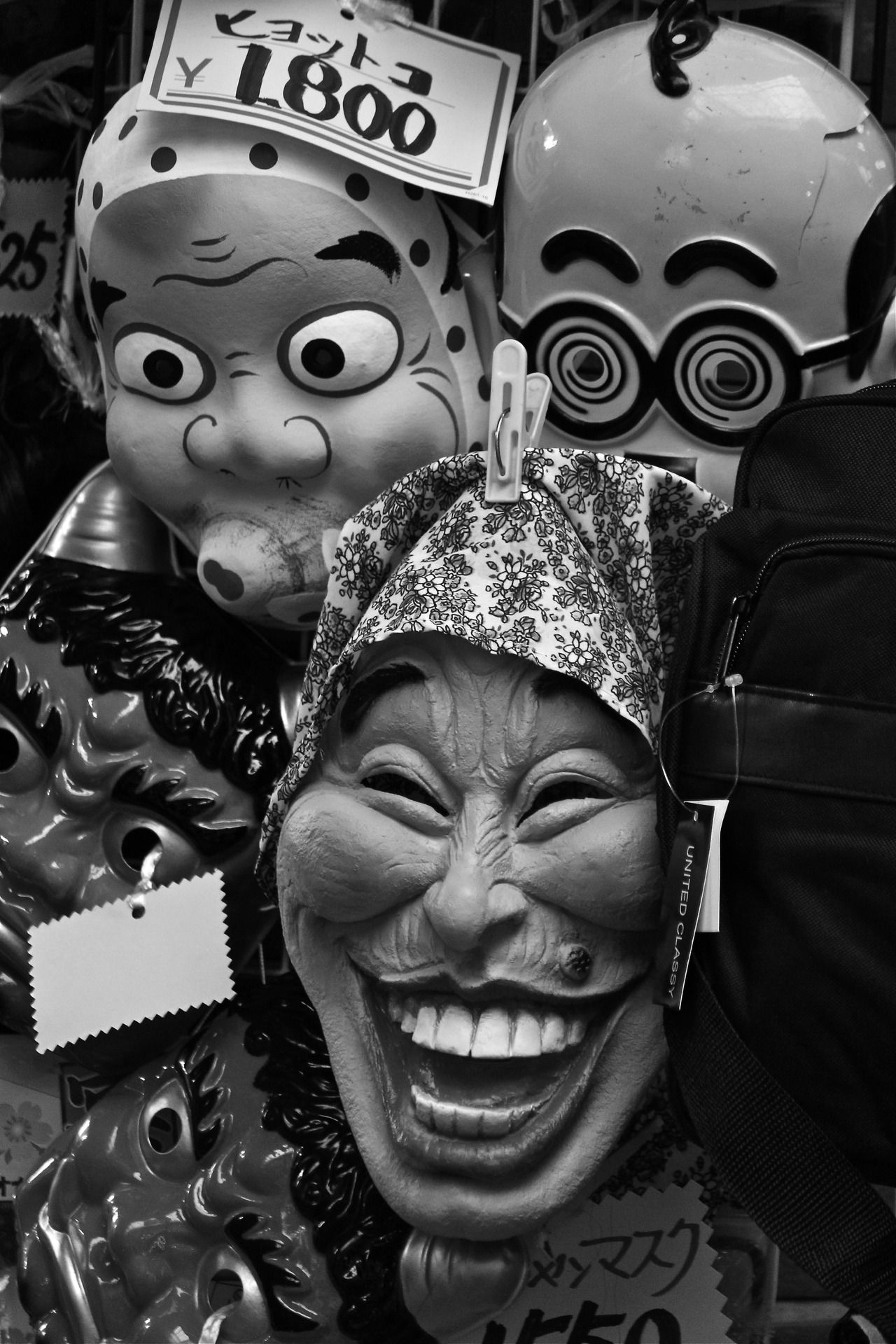 Japanese masks for sale in Asakusa, Tokyo. Photo by hawkeye29 on Tumblr, AKA Motographer in Japan.