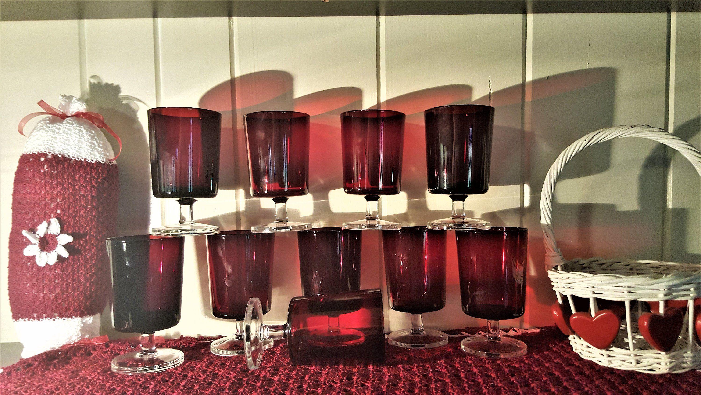 Vintage Luminarc Ruby Red Wine Goblets Set Of 10 Ruby Red Wine Glasses Red Valentine Wine Glasses Red Wedding Red Wine Glasses Valentines Wine Party Glassware