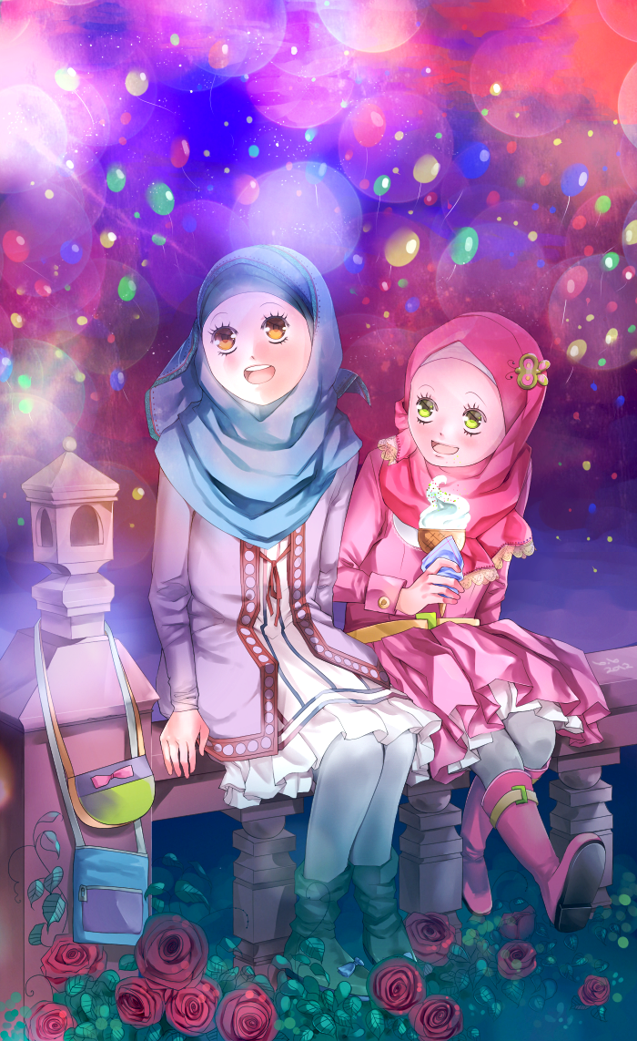 Happy Muslim Girls on Eid Day (Manga & Anime Style Drawing