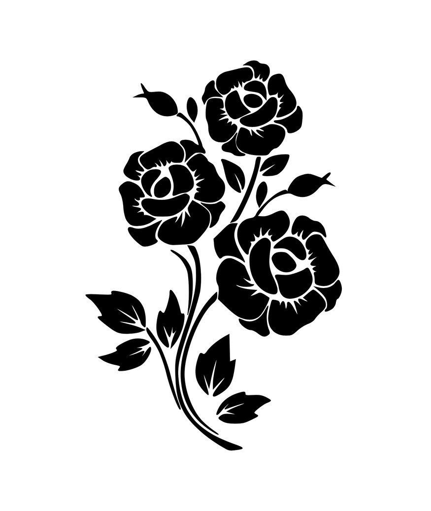Digital File Rose Roses Svg Png Jpg Cricut Silhouette Etsy In 2020 Black Silhouette Flower Silhouette Rose Stencil
