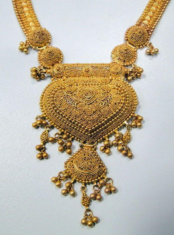 Vintage 22 K Solid Gold Filigree Necklace Choker Pendant Price Us 5850 00