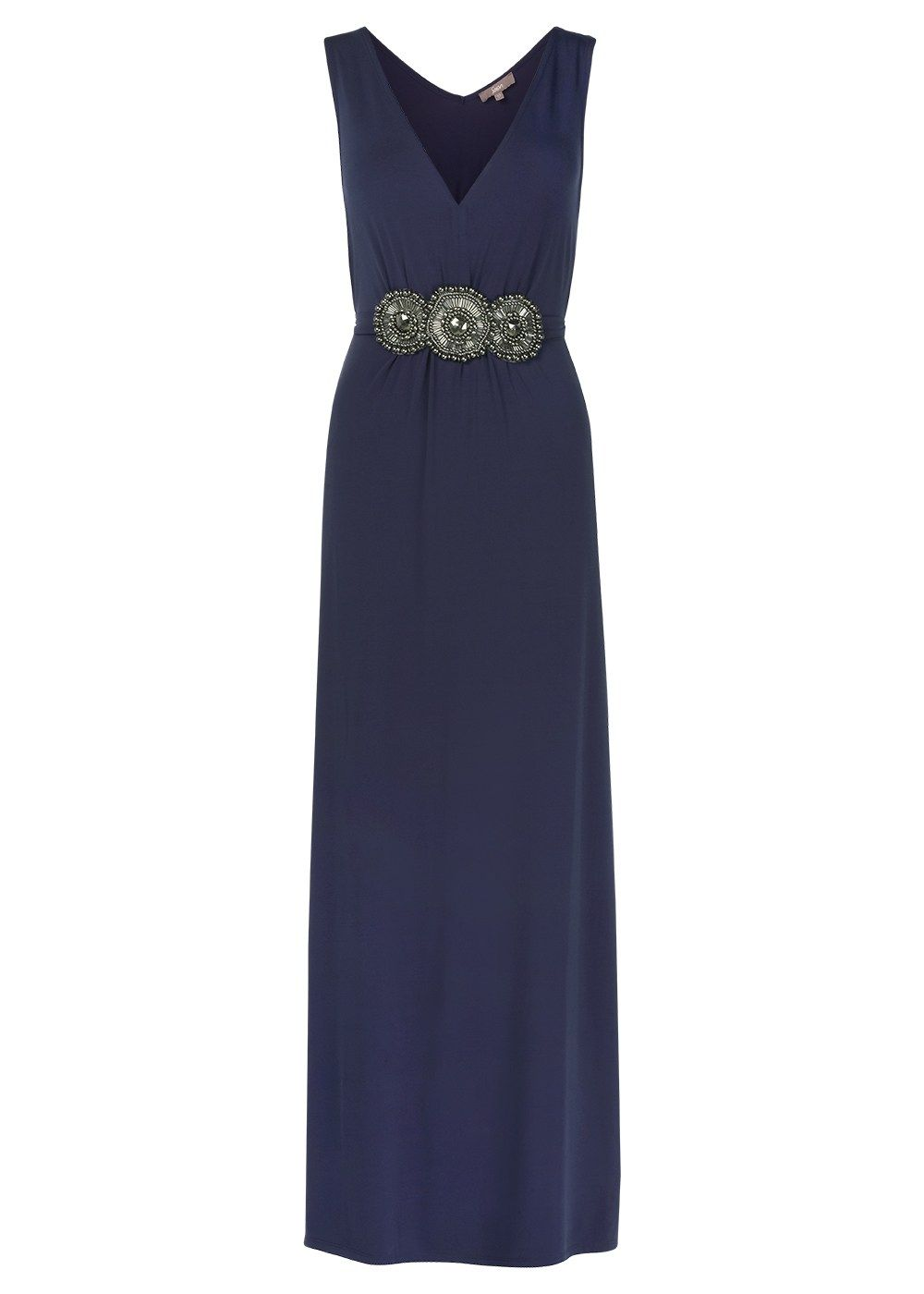 Sleeveless navy blue maxi dress features a vneckline and has been