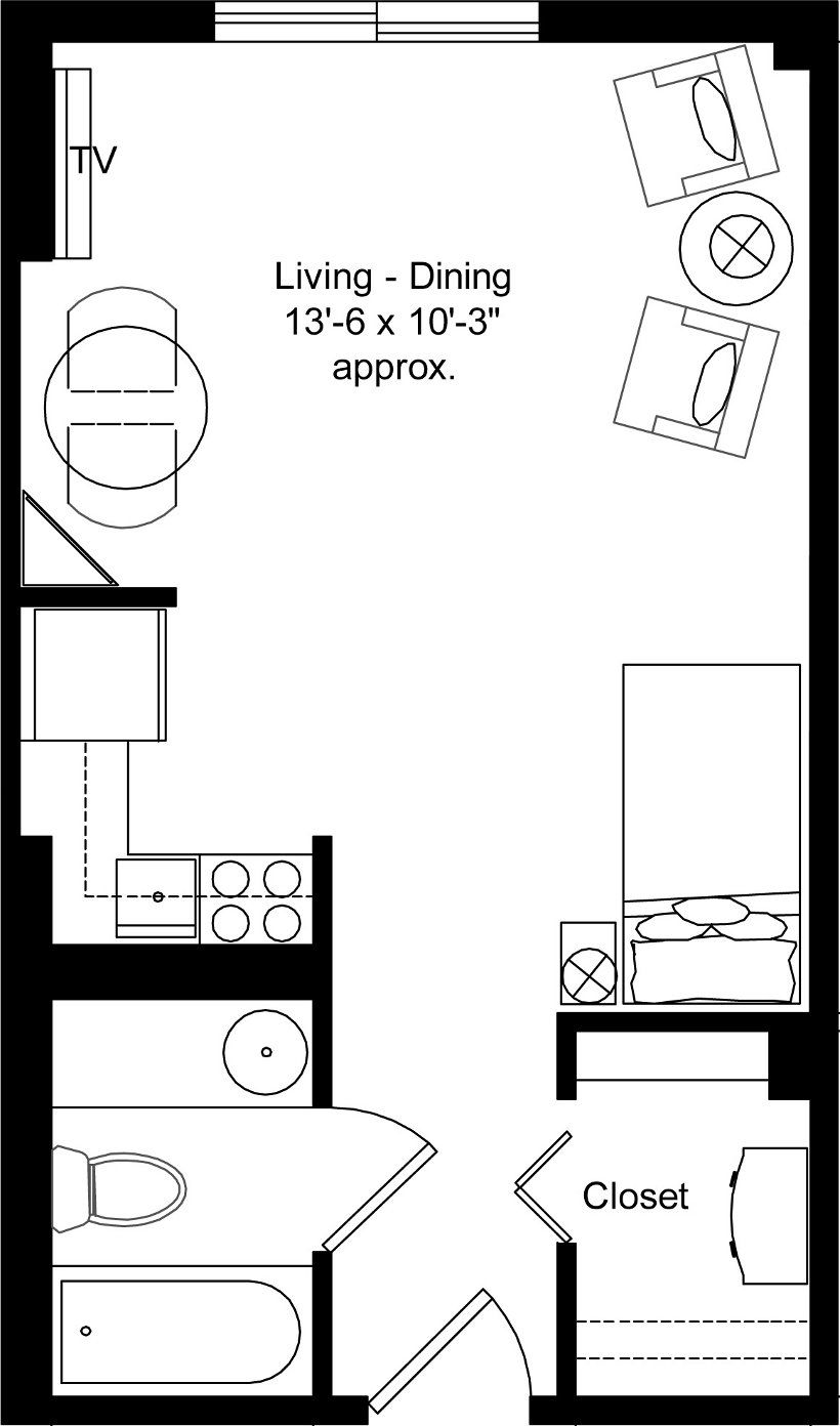Studio Apartment Design Plan Retirement Easy Room Layout