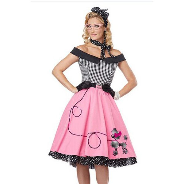 Pink Adult 1950\'s Costumes School Girl Poodle Skirt Costume (230 ...