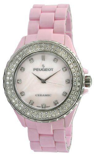 Best Buy Peugeot Women's PS4830PK Swiss Ceramic Swarovski Crystal Pink Dial Watch