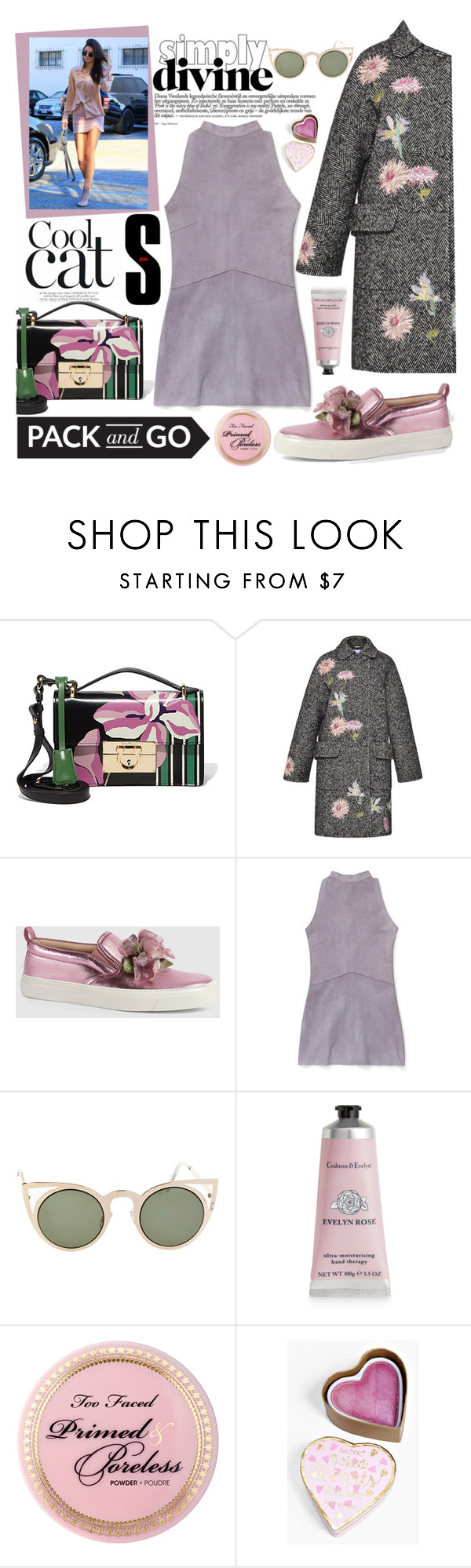 """""""Pack And Go - Milan"""" by bysc ❤ liked on Polyvore featuring Salvatore Ferragamo, Blumarine, Gucci, Rebecca Minkoff, Betsey Johnson, Therapy, Boohoo, women's clothing, women and female"""