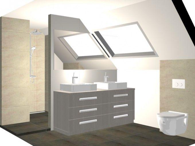 Badkamer onder schuin plafond dagmar buysse 3d ontwerpen badkamers pinterest plafond - Ouderlijke doucheruimte kleedkamer volgende ...